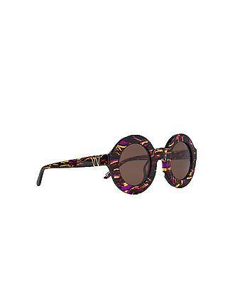 Wildfox Twiggy Printed Round Frame Sunglasses in Brown
