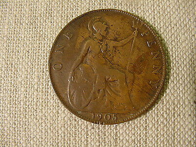 1905 British 1 One Penny Copper Great Britain Edward VII Toned Circulated