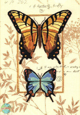 Crewel Embroidery Kit Dimensions Colorful Butterfly Duo & Leaves #6234 OOP SALE!