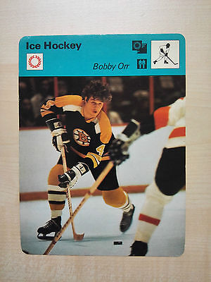 ICE HOCKEY BOBBY ORR Boston Bruins Sportscaster Rencontre Fact Card -  Rare