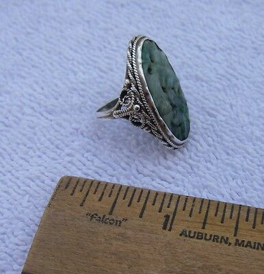 Good ORIENTAL Carved GREEN STONE RING-Silver Filigree Mount-Size 4.25-NR