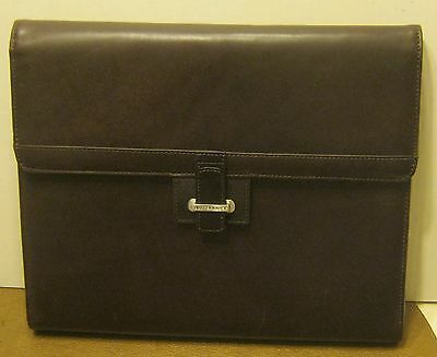 CUTTER & BUCK Brown Leather Padded Folio w VOLVO Ball Point Pen EXCELLENT!! NR!!
