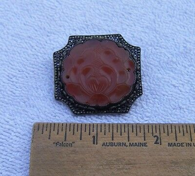 Good CHINESE Silver Filigree CARVED CARNELIAN Lotus Flower BROOCH-Conversion-NR