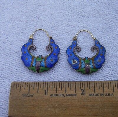 Antique CHINESE Gilt Silver ENAMEL BAT EARRINGS-Hollow-Multi-Colored-Hook Tops.