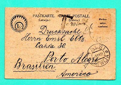 LATVIA LETTLAND CARD USED TALSI TO BRAZIL 1921s 379