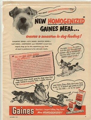 Original Vintage Mag Ad 1951 Gaines Homogenized Dog Food!