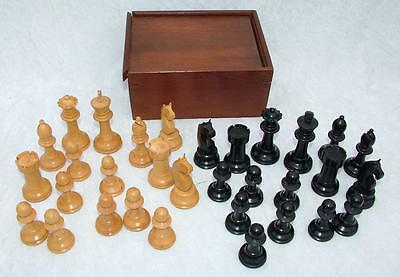 Vintage Carved Wooden Staunton Style Chess Set In Wooden Box