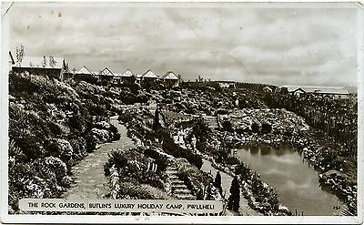 Butlin's Holiday Camp - Pwllheli - Rock Gardens - Old Real Photo Postcard View