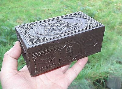 Old Vintage Embossed Pressed Steel Wood Lined Cigarette Tin Box State Express