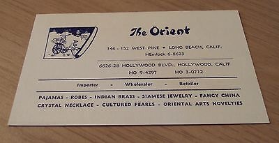 """1930's ADVERTISING Card~""""The ORIENT"""" Hollywood/Long Beach CA~Imports/Jewelry~"""