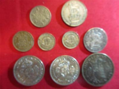 Great Britain U.K Silver Mixed Lot 9 Coins 50% Silver Content Ungraded Item2626
