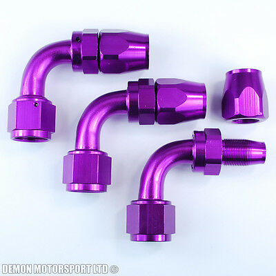 AN10 (-10 10AN) 90 Degree Purple Braided Hose Fitting (3 Pack)