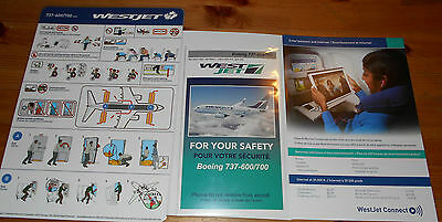 3x Westjet Safety Cards Boeing 737- 600/700 Airplane Airline Card Old + New +1