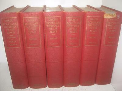 6 BOOK SET Popular History of the Jews by H. Graetz COMPLETE Rhine Translation