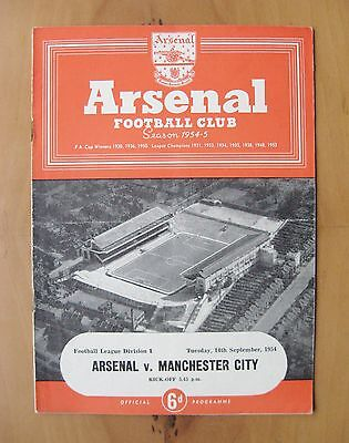ARSENAL v MANCHESTER CITY 1954/1955 *Excellent Condition Football Programme*