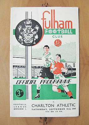 FULHAM v CHARLTON ATHLETIC 1949/1950 *Excellent Condition Football Programme*