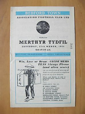 BEDFORD TOWN v MERTHYR TYDFIL 1953/1954 *Excellent Condition Football Programme*