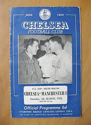 CHELSEA v MANCHESTER UNITED FA Cup 1949/1950 *Good Condition Football Programme*