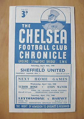 CHELSEA v SHEFFIELD UNITED 1947/1948 *VG Condition Football Programme*