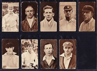 R & J Hill FAMOUS CRICKETERS 1923 Part Set 9/40 *Fair/Good Condition*