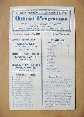CHELSEA v PORTSMOUTH 1945/1946 *Fair Condition Football Programme*