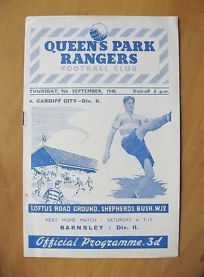 QUEENS PARK RANGERS QPR v CARDIFF CITY 1948/1949 *Exc Cond Football Programme*
