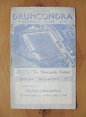 DRUMCONDRA v NEWCASTLE UNITED Friendly 1958/1959 VG Condition Football Programme