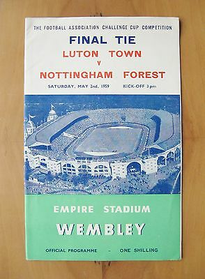 1959 FA Cup Final LUTON TOWN v NOTTINGHAM FOREST *Exc Cond Football Programme*