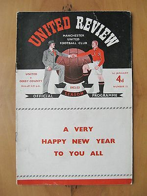 MANCHESTER UNITED v DERBY COUNTY 1952/1953 *VG Condition Football Programme*