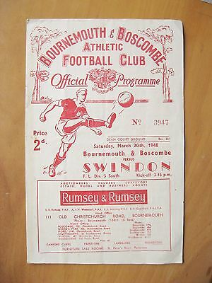 BOURNEMOUTH v SWINDON TOWN 1947/1948 *VG Condition Football Programme*