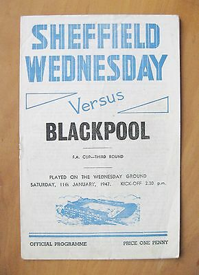 SHEFFIELD WEDNESDAY v BLACKPOOL FA Cup 1946/1947 *VG Cond Football Programme*