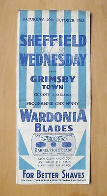 SHEFFIELD WEDNESDAY v GRIMSBY TOWN 1945/1946 *Good Condition Football Programme*