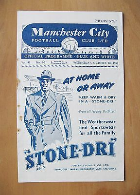 MANCHESTER CITY v CELTIC Friendly 1953/1954 *Good Condition Football Programme*