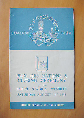 1948 London Olympics Prix Des Nations & Closing Ceremony Programme 14th August