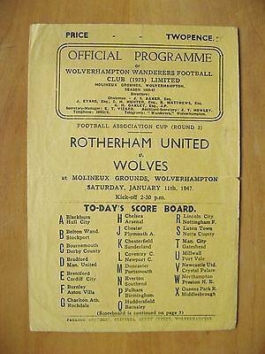 WOLVES v ROTHERHAM UNITED FA Cup 1946/1947 *VG Condition Football Programme*
