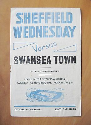 SHEFFIELD WEDNESDAY v SWANSEA TOWN 1946/1947 *VG Condition Football Programme*