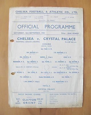 CHELSEA v CRYSTAL PALACE 1944/1945 *Good Condition Football Programme*