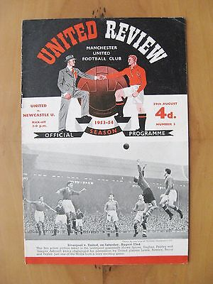 MANCHESTER UNITED v NEWCASTLE UNITED 1953/1954 Exc Condition Football Programme