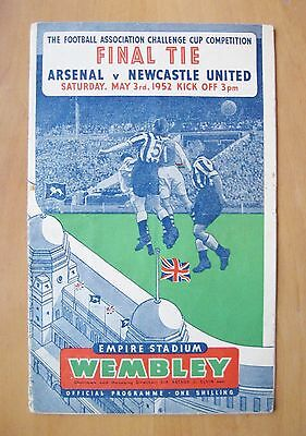 1952 FA Cup Final ARSENAL v NEWCASTLE UNITED *VG Condition Football Programme*