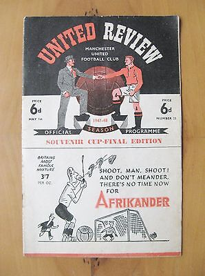 MANCHESTER UNITED v BLACKBURN ROVERS 1947/1948 *VG Condition Football Programme*