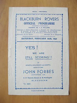 BLACKBURN ROVERS v DERBY COUNTY 1946/1947 Excellent Condition Football Programme