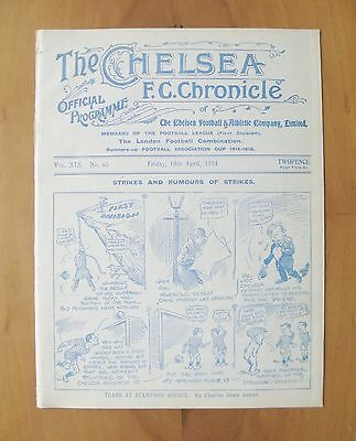 CHELSEA v LIVERPOOL 1923/1924 *Excellent Condition Football Programme*