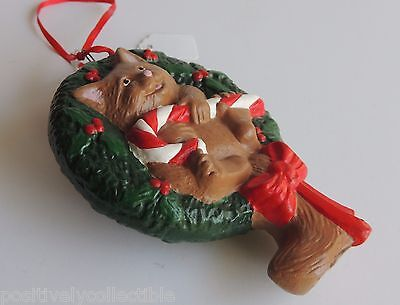 """Hand Crafted Ceramic Christmas Wreath Cat Candy Cane Christmas Ornament 5"""""""