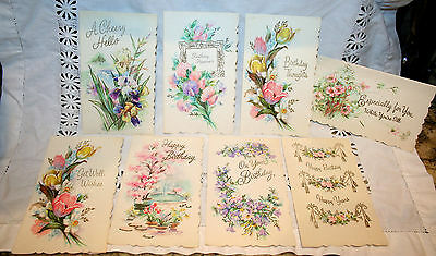 ~~~lot 8 VINTAGE PASTEL greeting CARDs *GLITTER* Scalloped Assorted Unused~~~