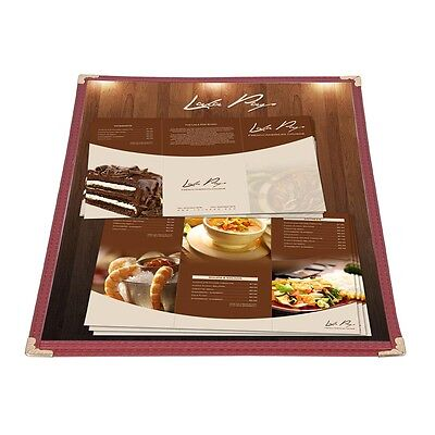 30 Menu Cover 8.5x11 2 View Single 1 Page Burgundy Restaurant Cafe Deli Catering