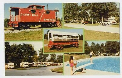 WINCHESTER VA Candy Hill Campground Views Railroad Caboose postcard