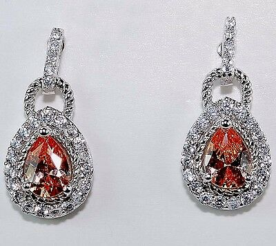 2CT Padparadscha Sapphire & White Topaz 925 Solid Sterling Silver Earrings