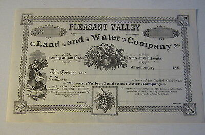 1880's Pleasant Valley Land & Water Stock Certificate Winchester San Diego Co CA