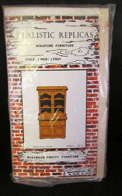 Vintage Miniature Buffet China Cabinet Kit ~Wood ~Unfinished ~New For Doll House