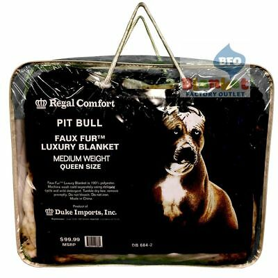 "Pit Bull Queen Size faux fur blanket 79"" x 96""NEW brown pitbull black background"